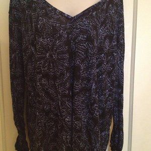 Free People NWT Long Sleeve Black and Blue Top